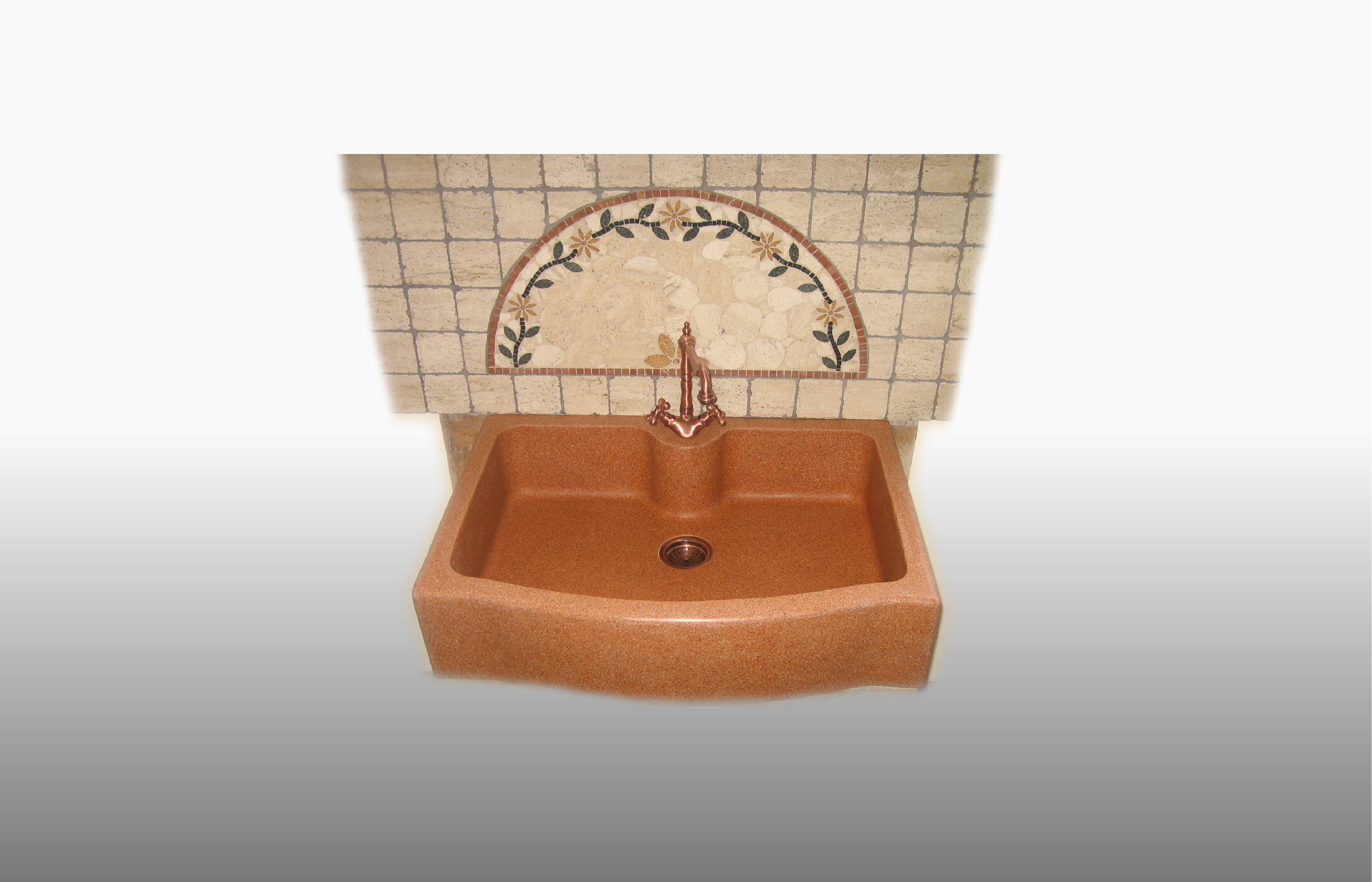 Lavello da appoggio in graniglia di marmo e resina  misura 60-65x90x21 cm  - prezzo 600,00 - 830 €