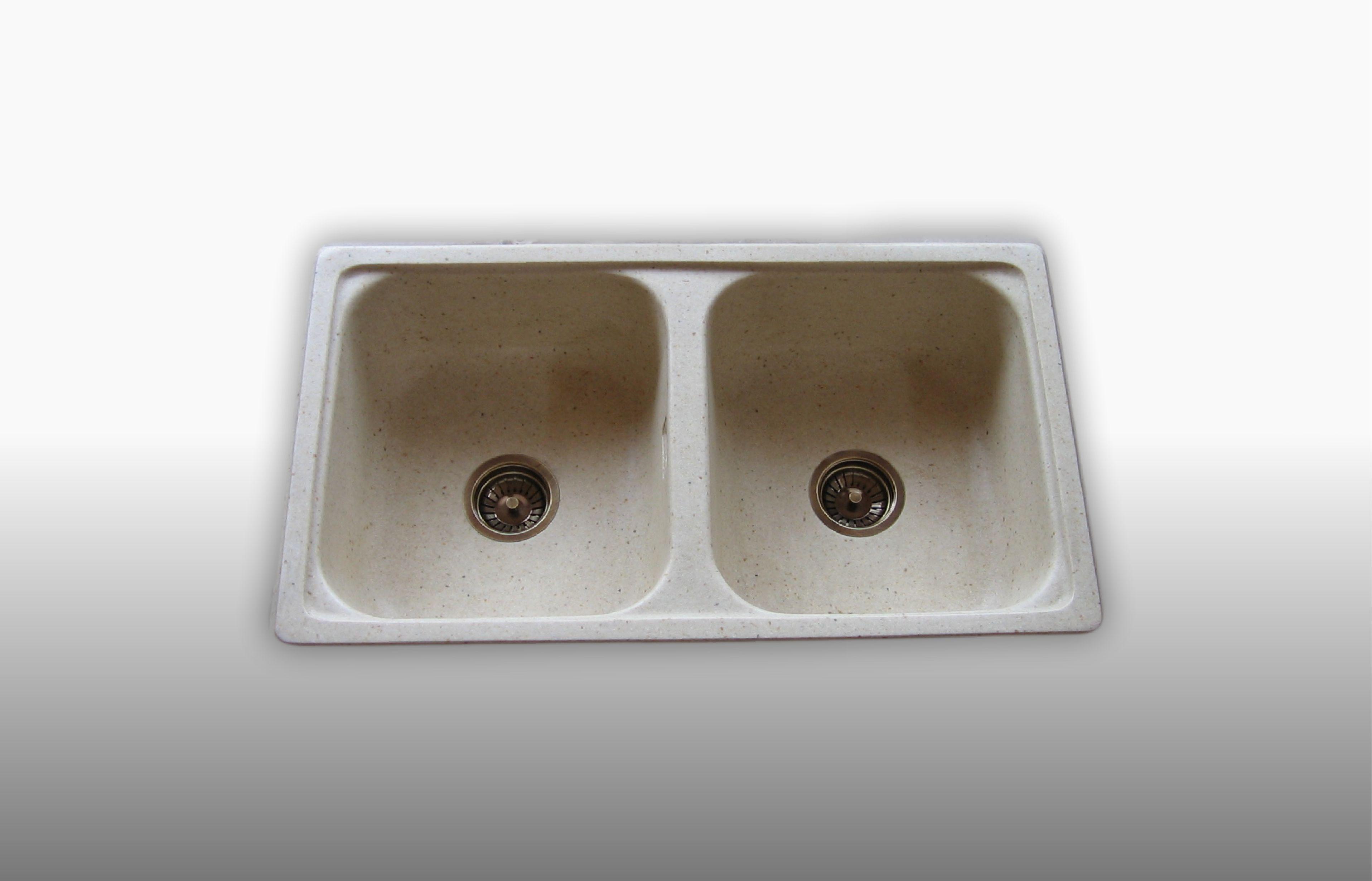 Lavello da incasso in graniglia 2 Vasche colore avorio - misura 86x50 cm  - prezzo 260,00 - 366€