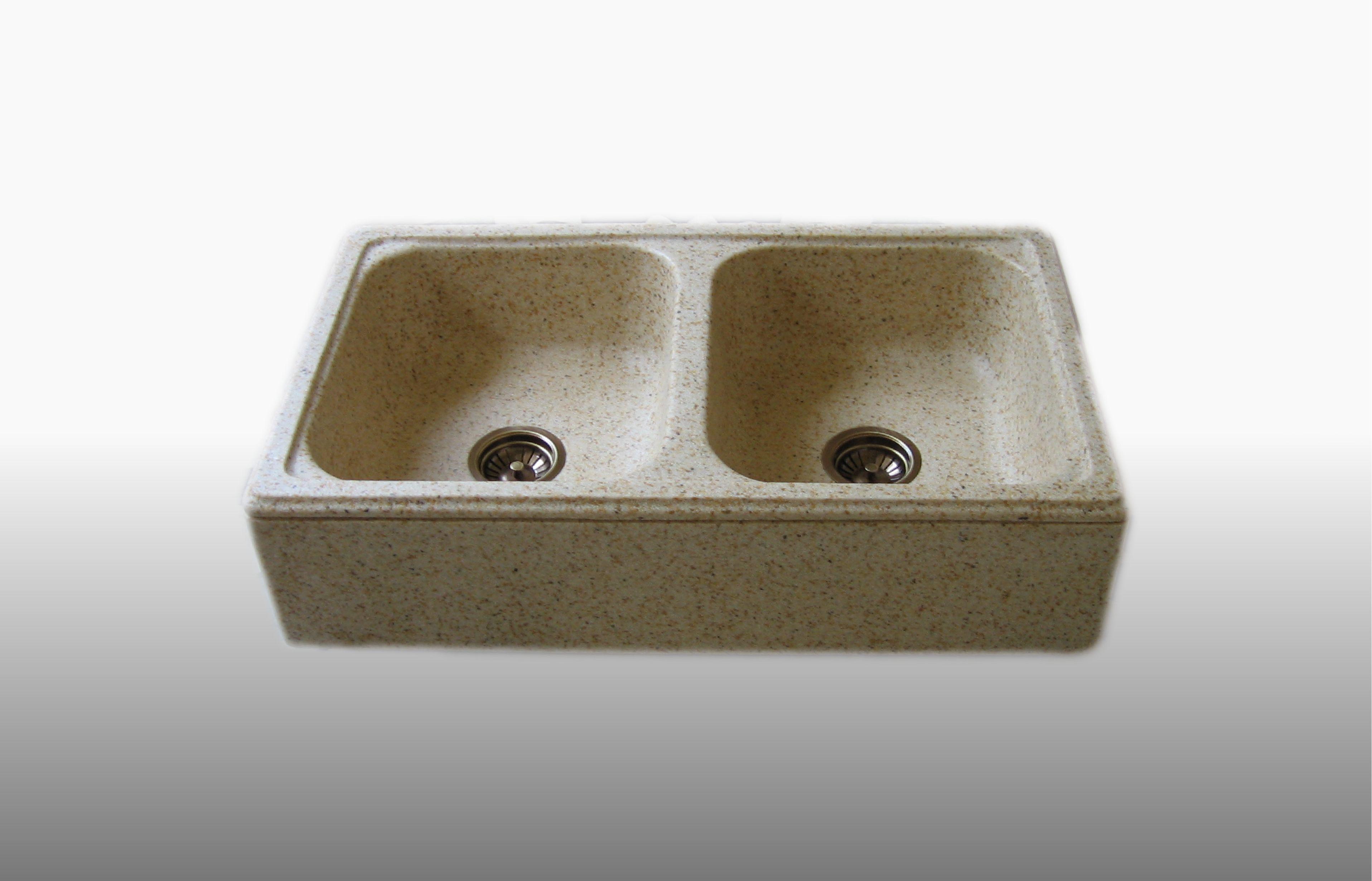 Lavello d'appoggio in graniglia 2 Vasche misura 50x85x21 cm  - prezzo 480,00 - 610 €