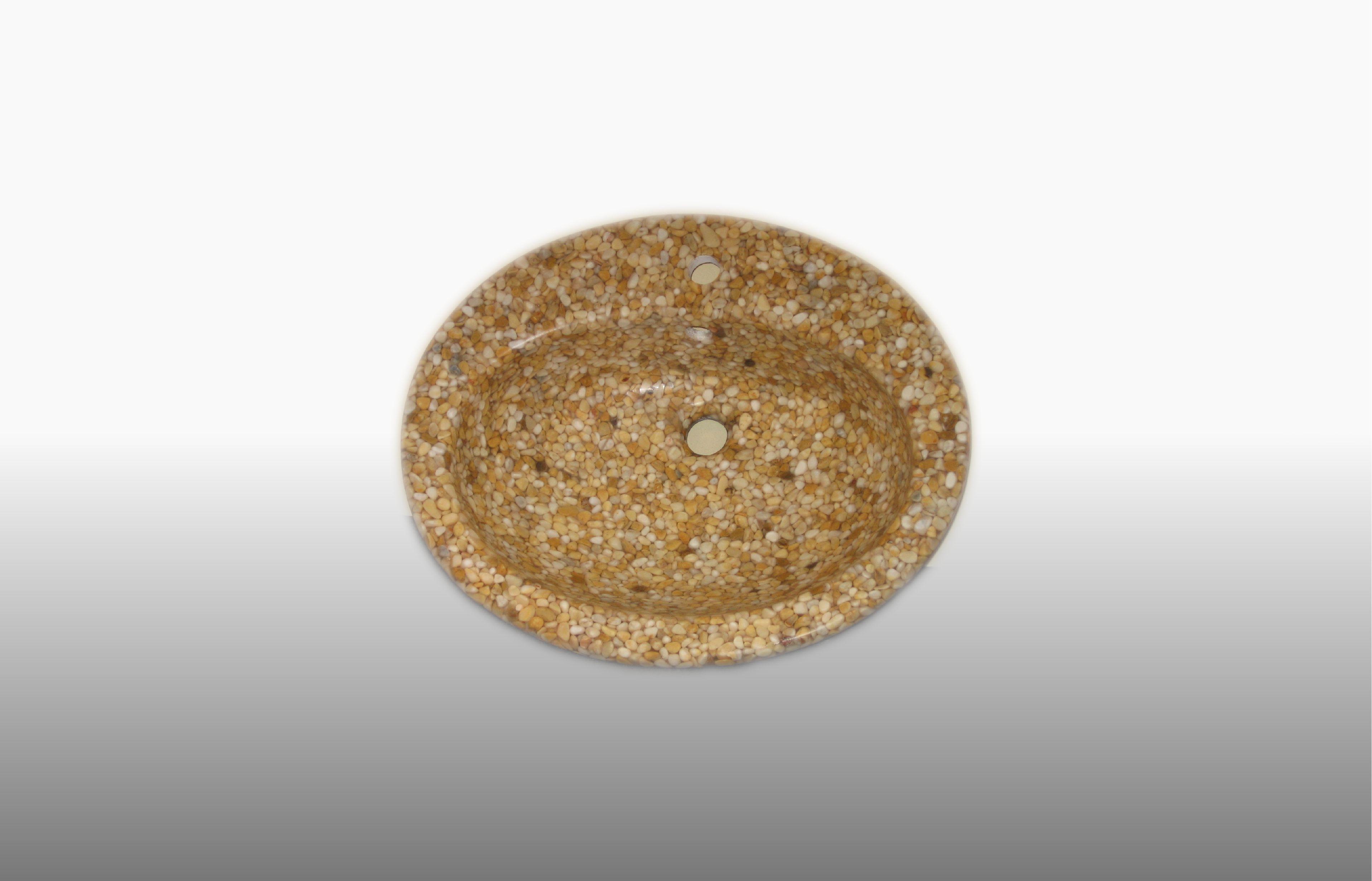 Lavabo da incasso ovale - in ciottoli Giallo Siena e resina trasparente misura 62x52 cm  - prezzo 230,00 €