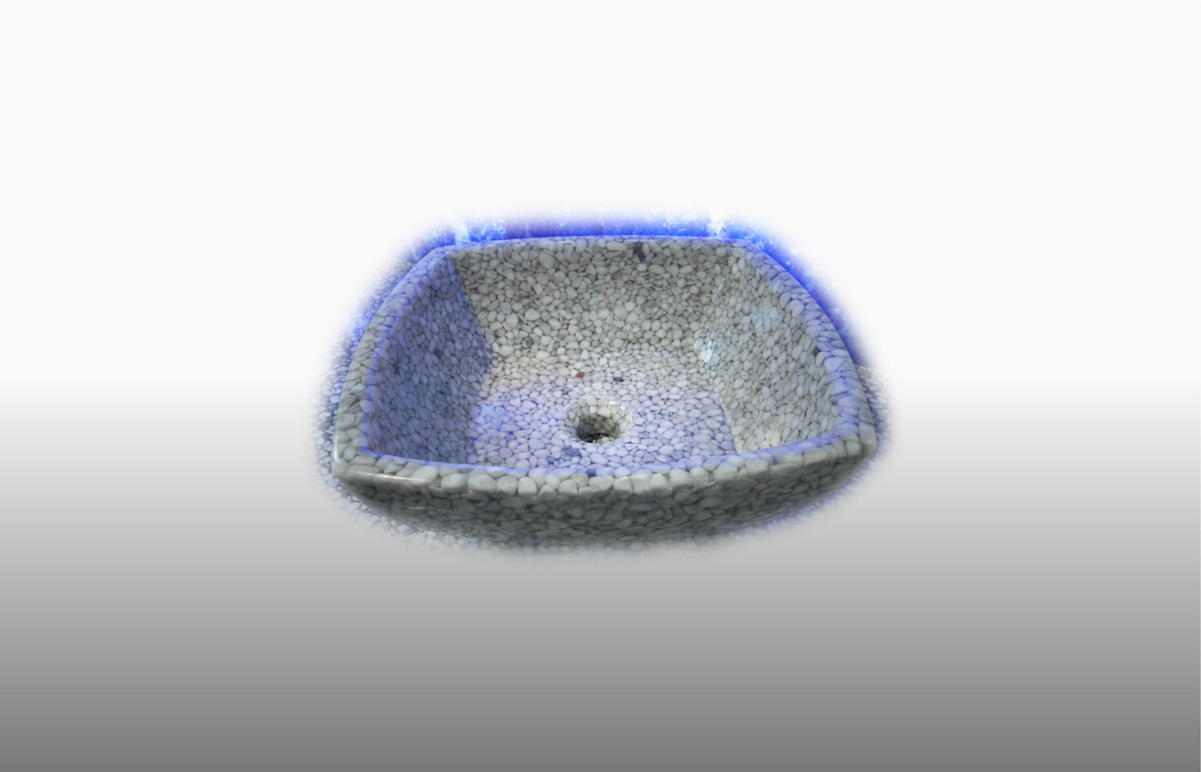 Lavabo in ciottoli Bianco Carrara e resina trasparente misura 43x43 cm  - prezzo 230,00 €