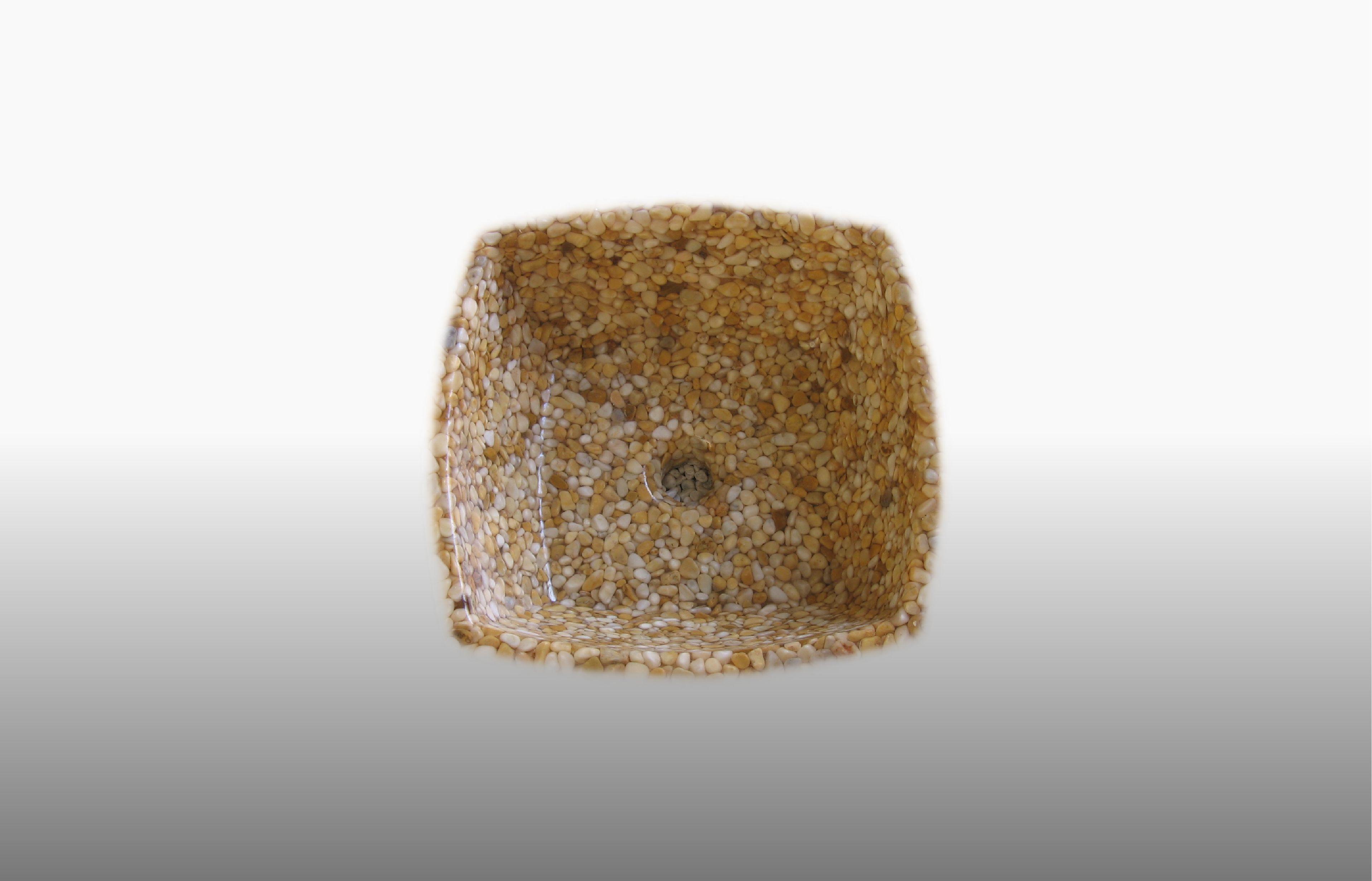 Lavabo in ciottoli Giallo Siena e resina trasparente misura 43x43 cm  - prezzo 230,00 € - 317
