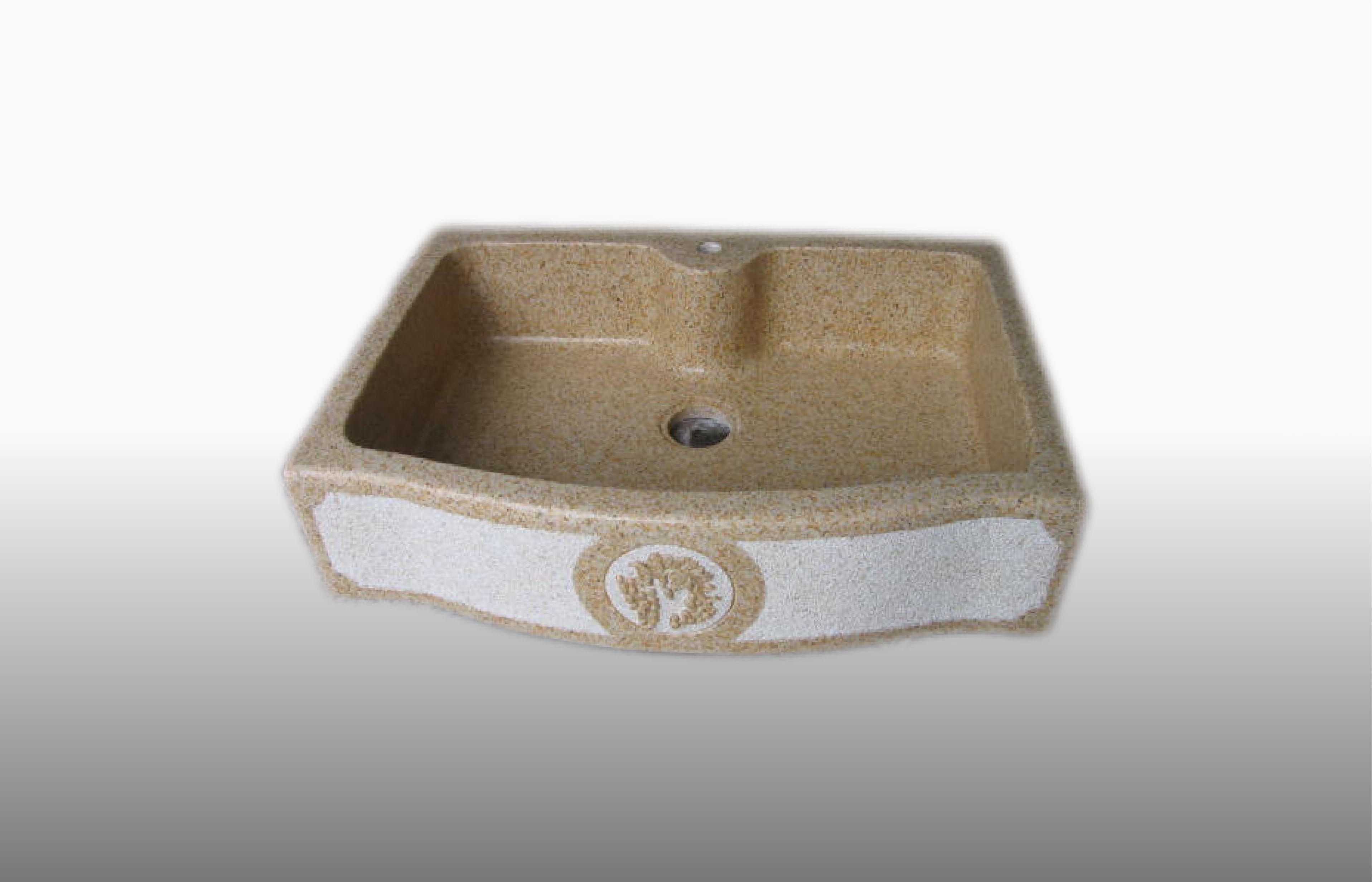 Lavello da appoggio in graniglia di marmo e resina con decoro - misura 60-65x90x21 cm  - prezzo 750,00 €