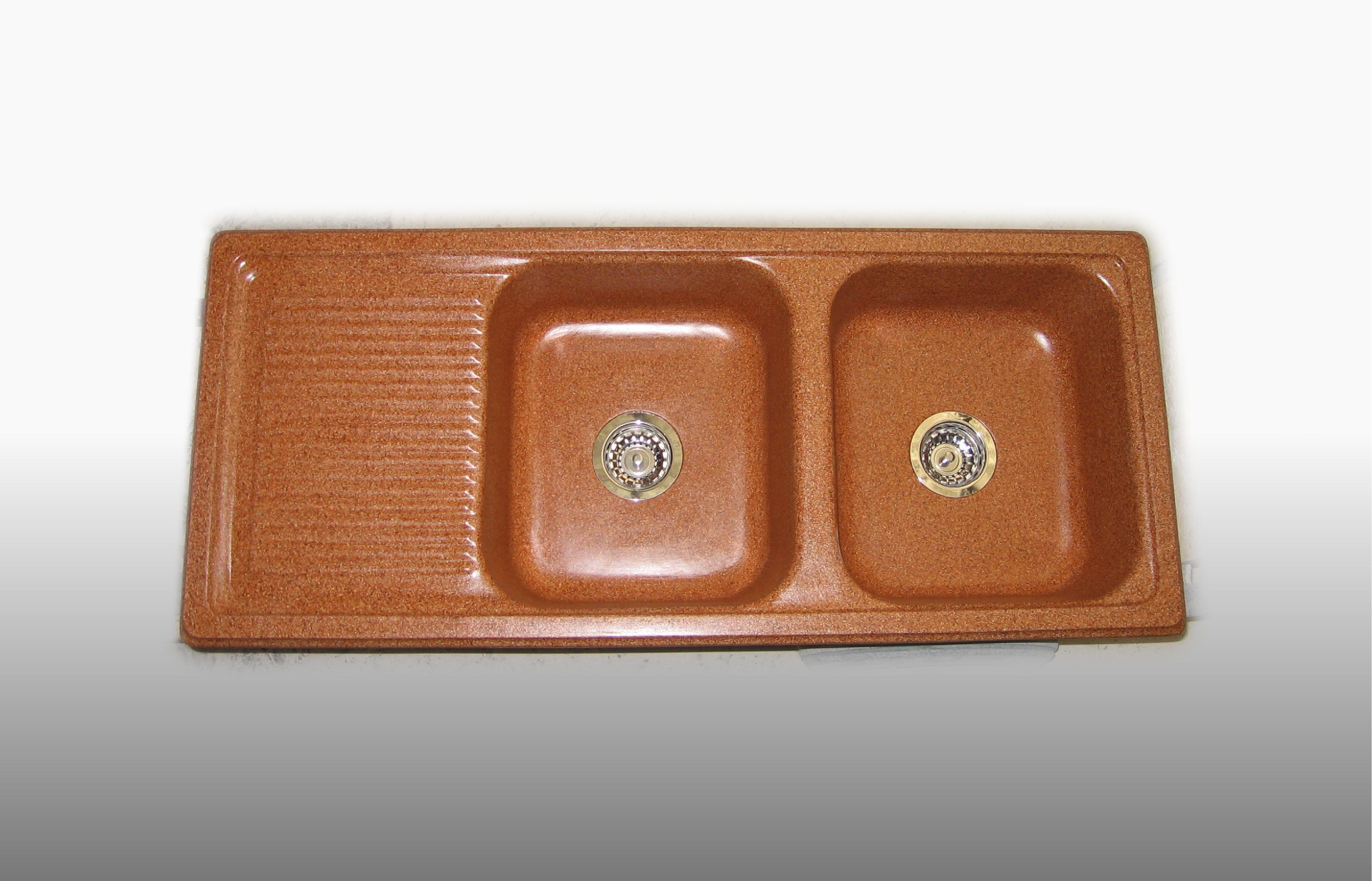 Lavello da incasso in graniglia 2 Vasche e gocciolatoio misura 116x50 cm  - prezzo 370,00 - 500 €