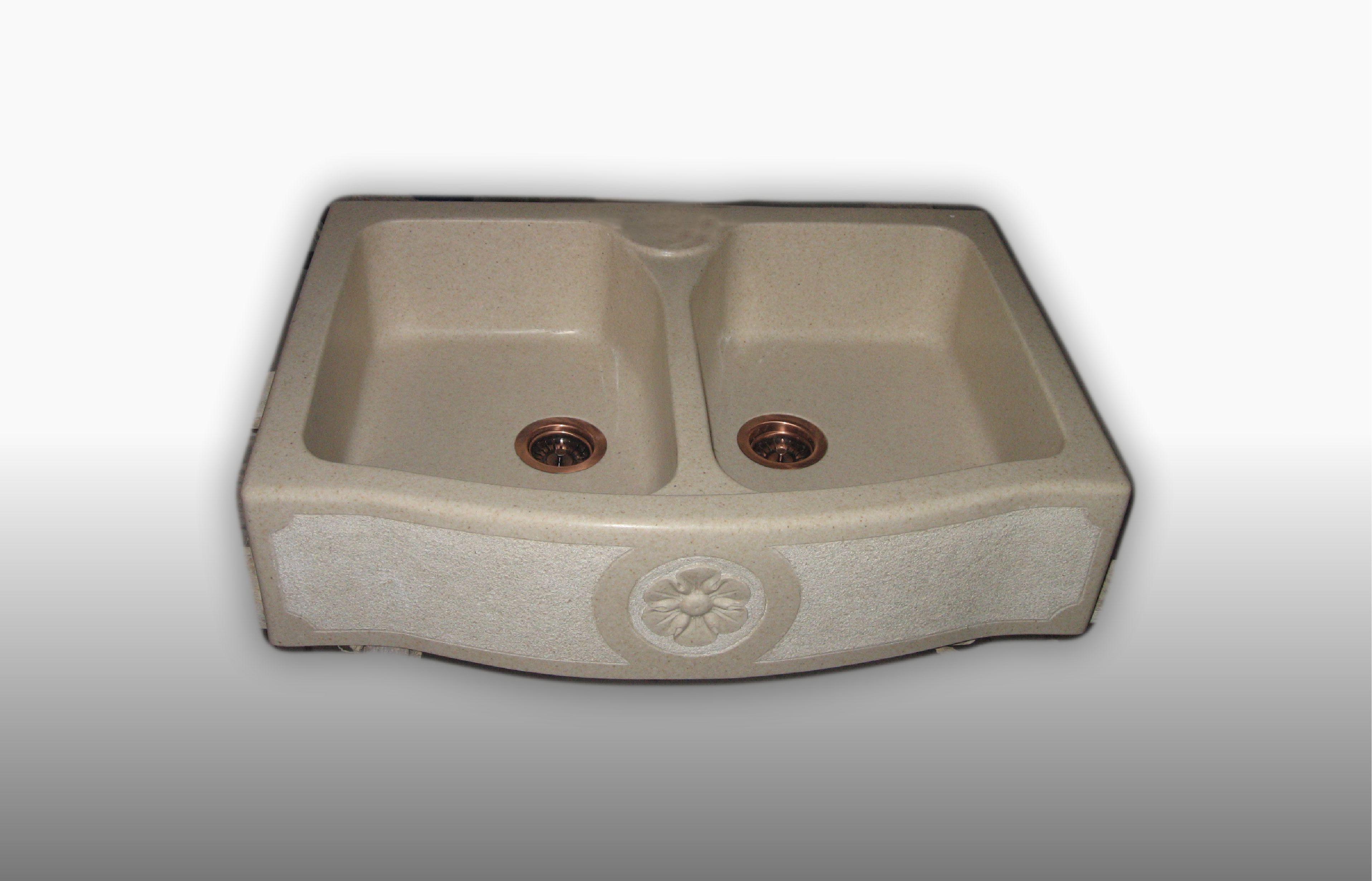 Lavello d'appoggio in graniglia 2 Vasche misura 60-65x90x21 cm  - prezzo 770,00 - 1086 €